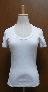 白Uネックコットン半袖Tシャツ