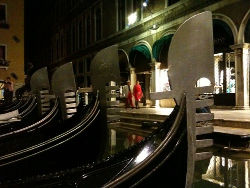 Venice at Night - parked gondolas
