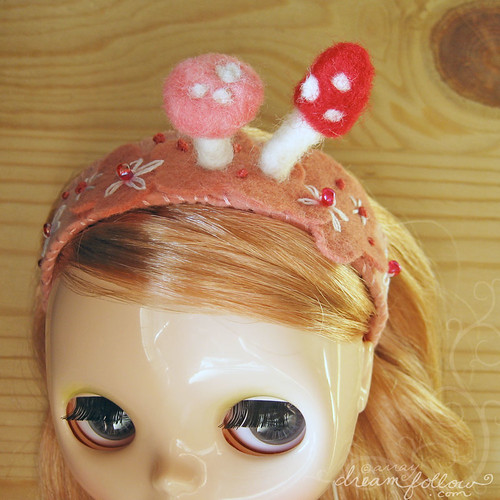 pink mushrooms headband