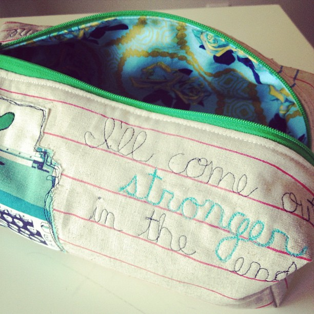 Boxy pouch for @apriltwoeighty with lyrics from a mutual favorite, Maroon 5