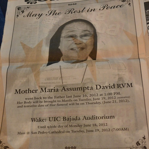Mother Maria Assumpta David RVM June 16, 2012 RIP