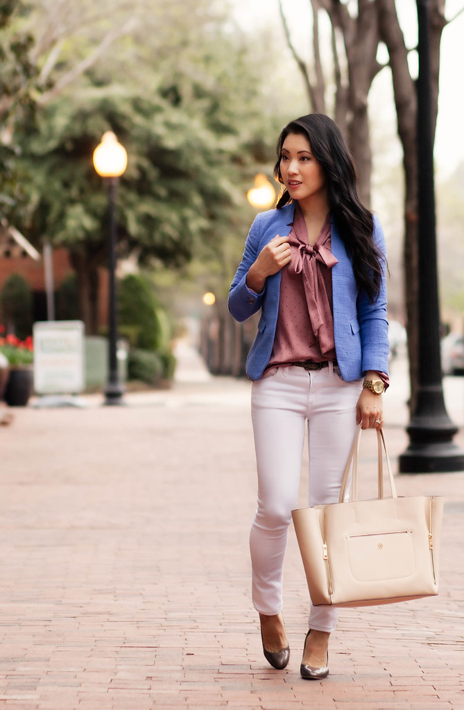 cute & little blog | petite fashion | cornflower blue blazer, pink polka dot bow blouse, white jeans, nude gallery tote outfit