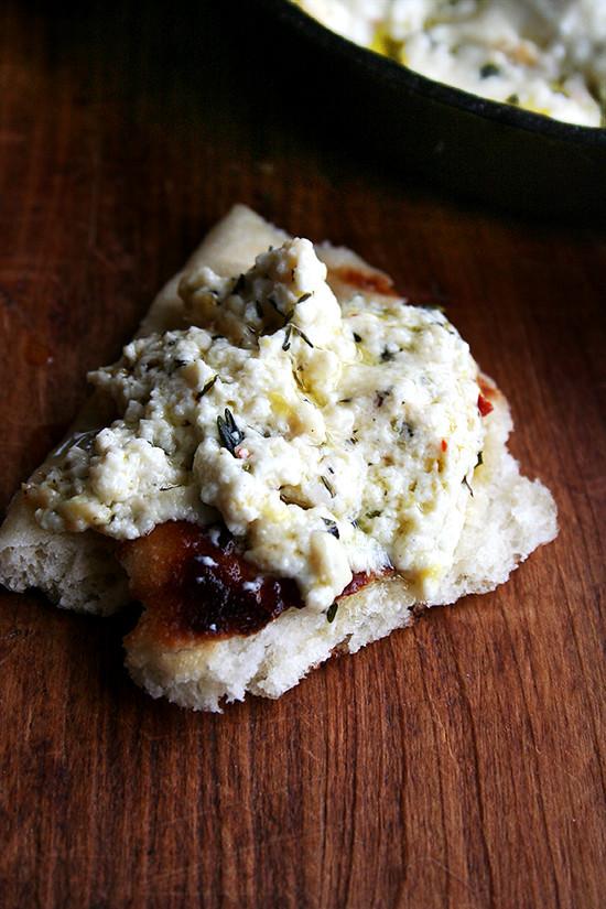 baked ricotta on bread