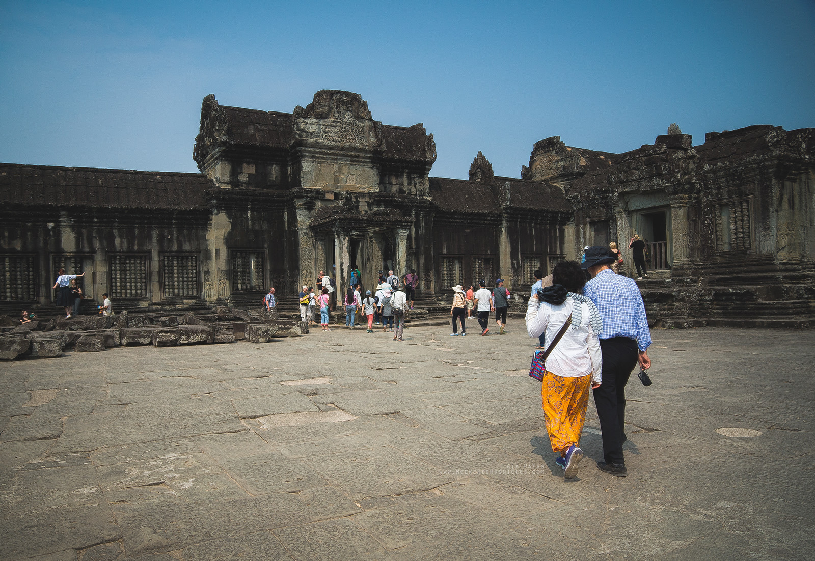 A couple spending their day at the historic Khmerian temples