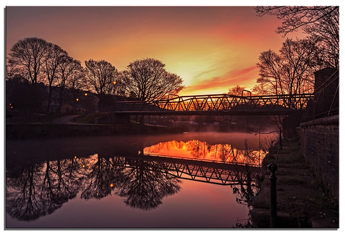 reflection water sunrise river yorkshire ngc nikkor aire saltaire d600 silkysmoothwatereffects spectacularsunsetsandsunrises nikonfxshowcase