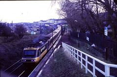 Electrification work between Abbeyhill and Meadowbank saw the use of the Abbeyhill Loop, with a diverted Edinburgh bound HST passing the halt built for the 1986 Commonwealth Games at Meadowbank....