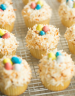Fluffy yellow cupcakes with coconut
