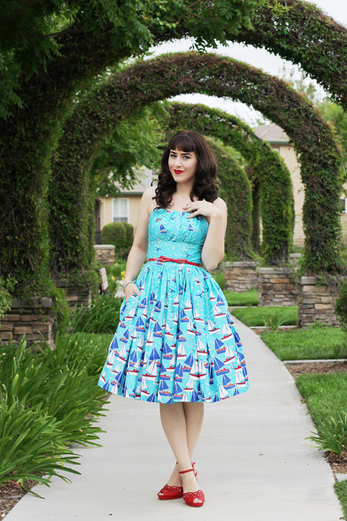 Unique Vintage Retrospect'd 1950s Pin Up Style Blue Beyond The Sea Cotton Swing Sun Dress