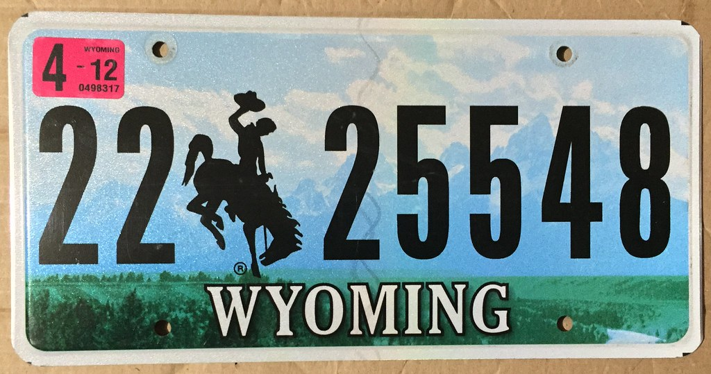 """WYOMING 2012 ---LICENSE PLATE #22-25548 