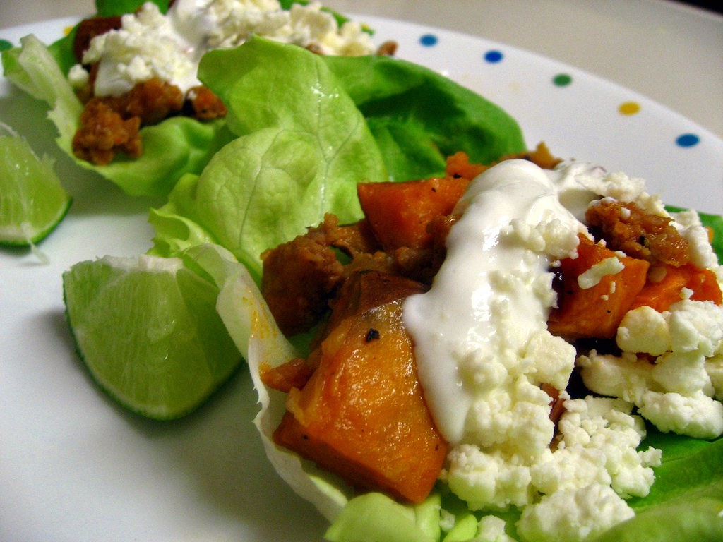 Sweet Potato Chorizo Lettuce Wraps