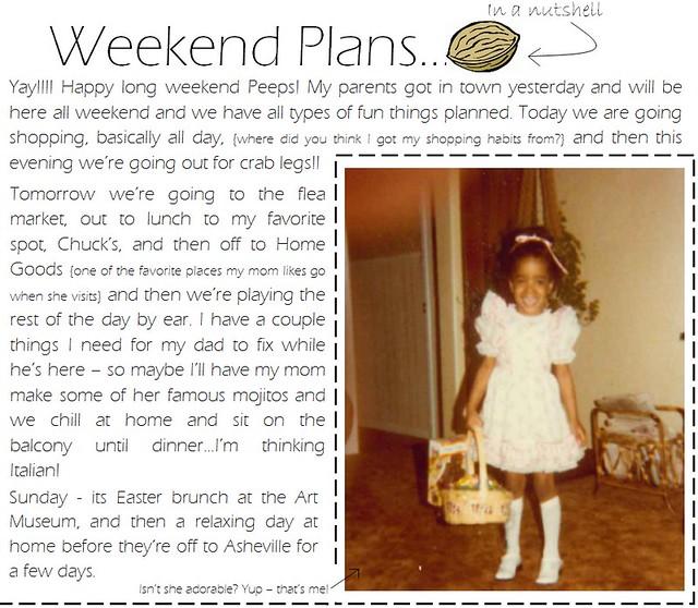 weekend plans 4.5.12