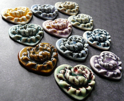 Porcelain Lotus Heart pendants
