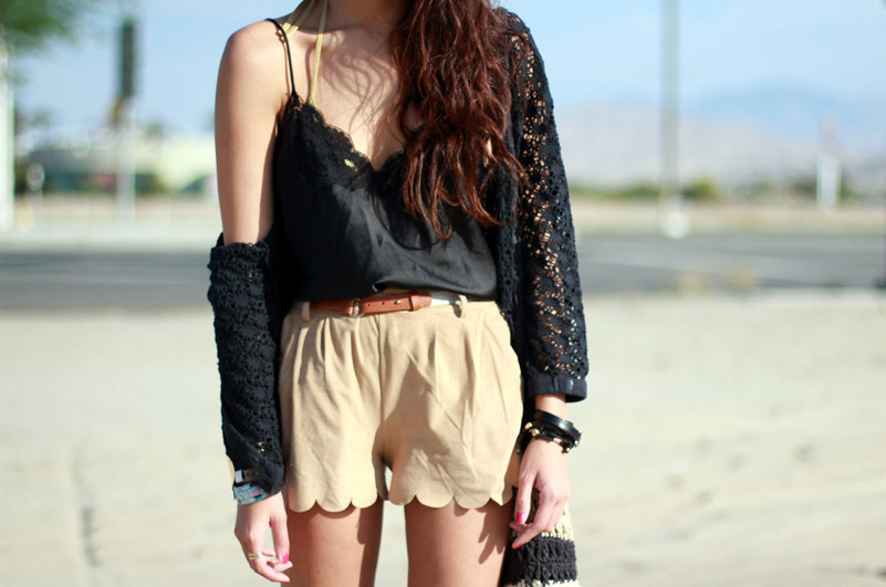 Beginning Boutique Suede Scallop Shorts, vintage Christian Dior lace one piece bodysuit, Coachella outfit 2012