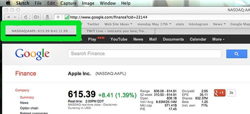 Google Finance Updates Stock Price in Safari Tab by stevegarfield