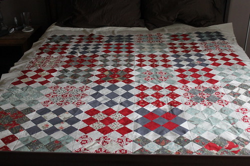 granny squares quilt top in etchings