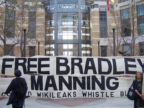 Free Bradley Manning - giant banner