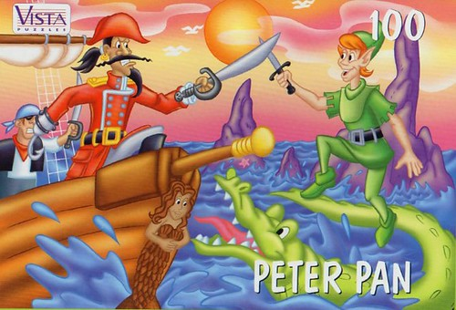"VISTA PUZZLES :: ""PETER PAN"" - 100 Piece Jigsaw Puzzle { Art by Lavigne & Brown } (( 199x ))"