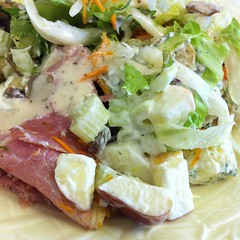 meal, breakfast, salad, meat, prosciutto, food, dish, cuisine, waldorf salad,