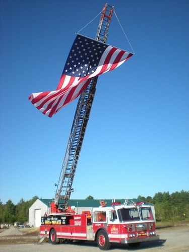 Flag on firetruck in Poland Springs Maine