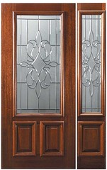 New Orleans Decorative Glass 2-3 Lite Mahogany Entry Door  Tall 80 P07142-G