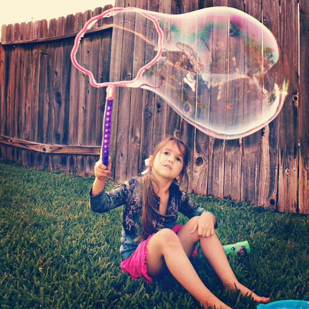 Bubbles...really big #bubbles in the backyard!
