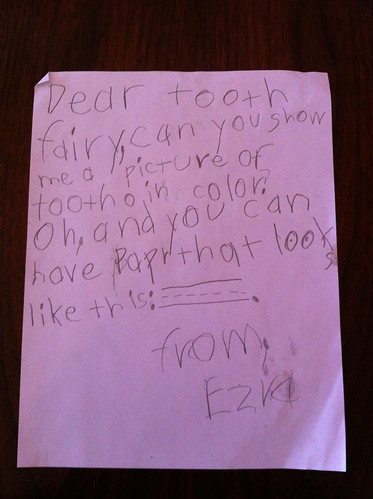 Ezra's letter to the Tooth Fairy