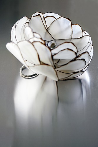 Burnt Paper Flower Ring