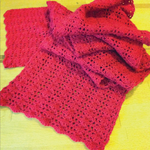 "red crocheted scarf - ""claudia scarf"" - in red 4ply wool"