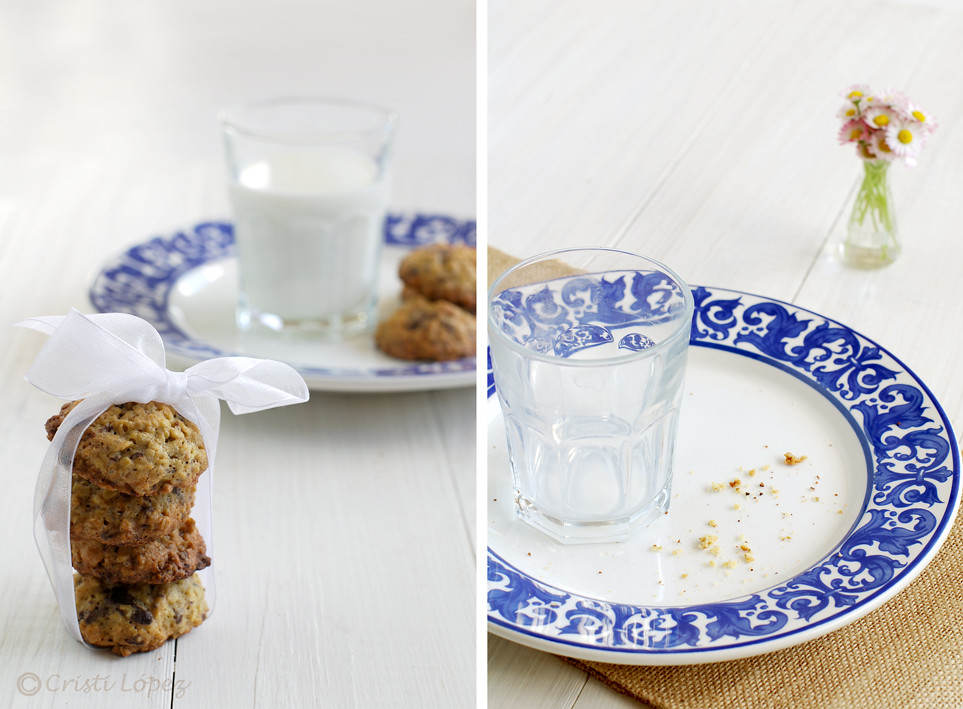Cookies con avena, chocolate y avellanas