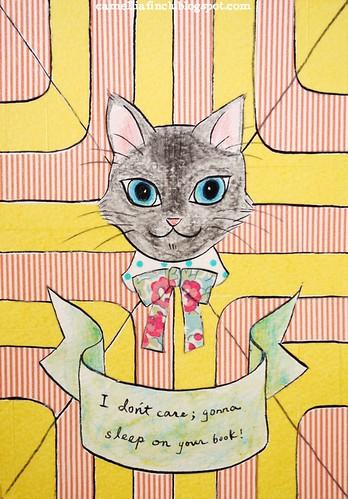 紙膠帶明信片 貓小姐