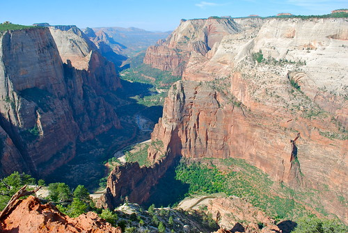 Looking down on Angels Landing