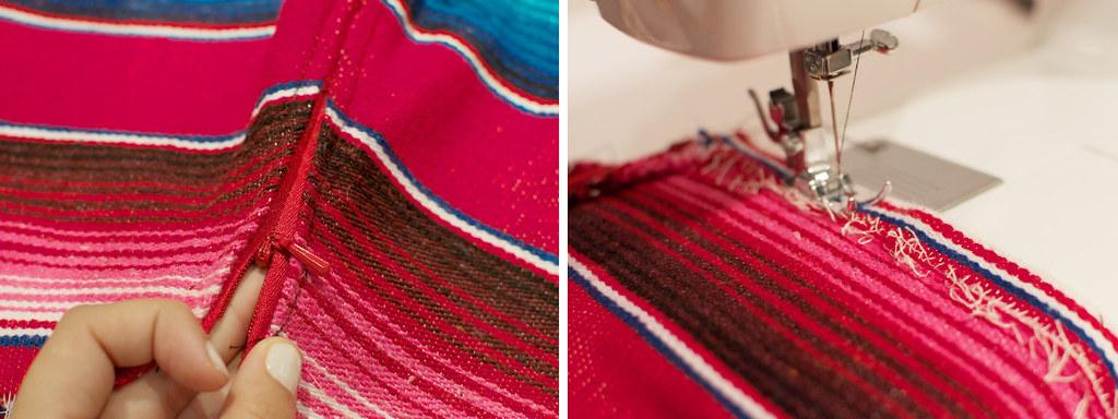 diy mexican rug skirt process5