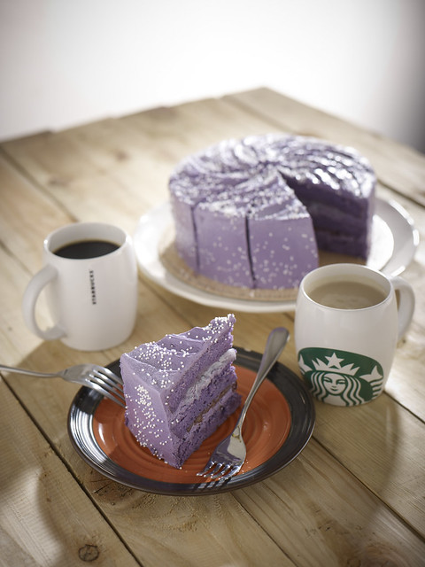 Purple Yam Cake with Macapuno and Red Bean