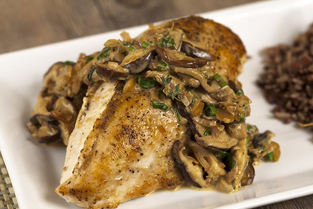Chicken Breasts with Shiitake-Thyme Cream Sauce