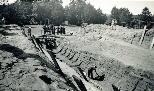 Excavation of an Anglo-Saxon ship burial. Sutton Hoo, Suffolk. 1939.