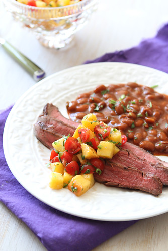 Beer-Marinated Grilled Flank Steak with Peach and Tomato Salsa Recipe