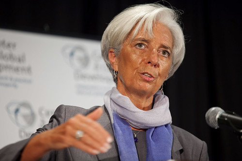 Christine Lagarde, Managing Director of the IMF giving a speech at the Center for Global Development in Washington, D.C.