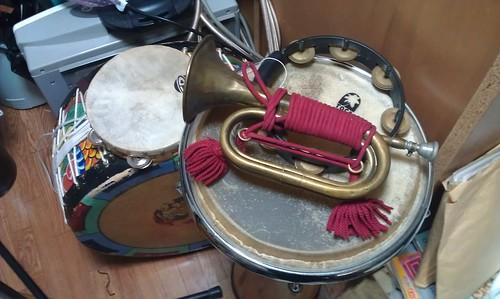 Old Bugle (Signal Trumpet),yonggo(Korean drum),Maxtone Djembe by Kanda Mori