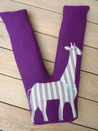 Fleece monogram giraffe pillow