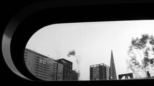 TransAmerica building through street car window