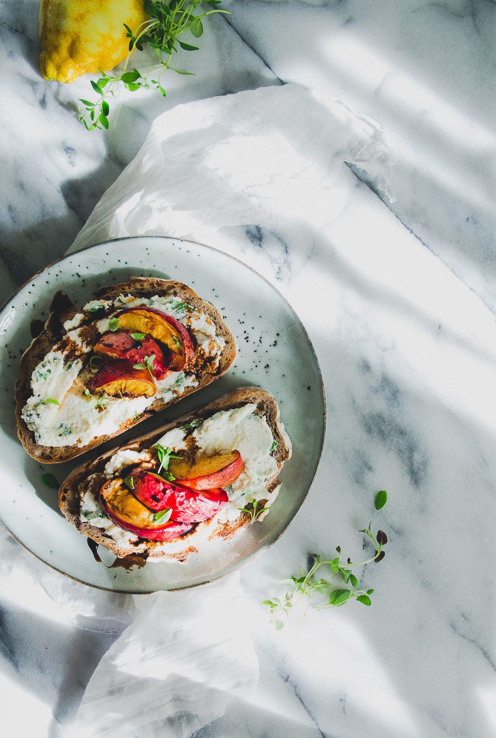 Herbed Ricotta & Parmesan Spread with Roasted Peaches & Balsamic Reduction on Sourdough Toast | Cashew Kitchen00