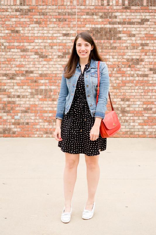 black polka dot dress + denim jean jacket + red purse + white mocs; easy spring summer outfit | Style On Target
