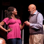 Amber Iman (as Cheryl) and Wendell W. Wright (as Joe LeVay) in the Huntington Theatre Company's production of Stick Fly. Part of the 2009-2010 season.