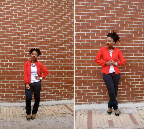 red blazer and jeans