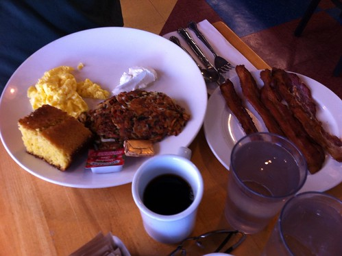 potatocake served w/ eggs scrambled, corn bread & side of bacon