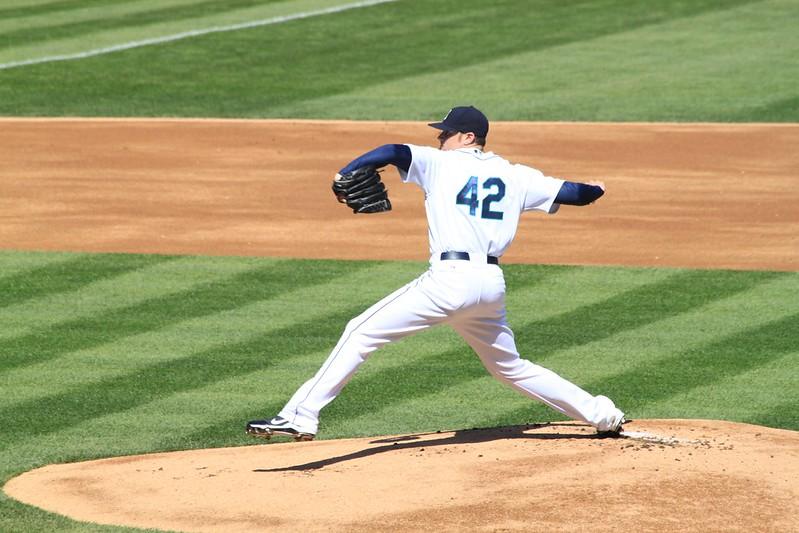 First pitch from #42 Blake Beavan