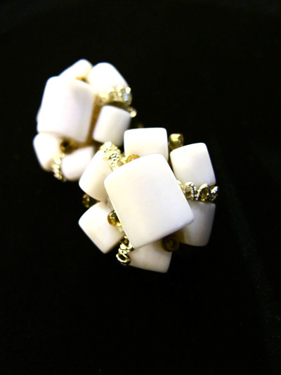 "1950s cluster clip-on earrings. Signed ""Japan"""