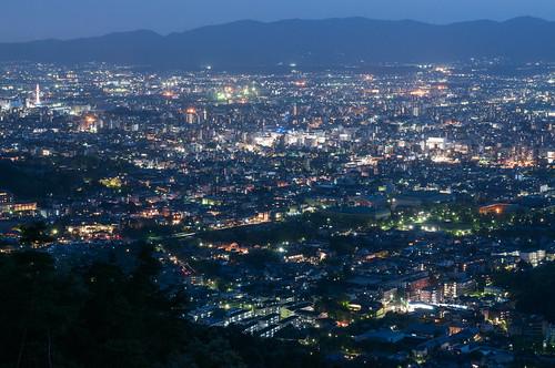 2012 京都市 京都府 大文字山 夜景 japan 日本 night cloudy landscape 左京区 夜 大文字 kyoto nikond90