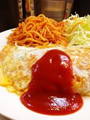 昼飯:オムライス700円。ぐふ、お腹きつい