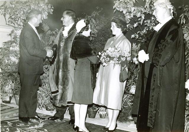 Alderman Cecil Pocock greets Chiswick Councillor Henniker (1960s)